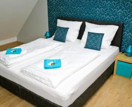 Schlafzimmer in der Ferienwohnung im Obergeschoss