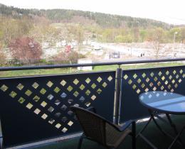 """Ausblick vom Balkon in Wohnung 1 über den Reisemobilhafen zur ErlebnisInsel """"Flößrasen"""""""